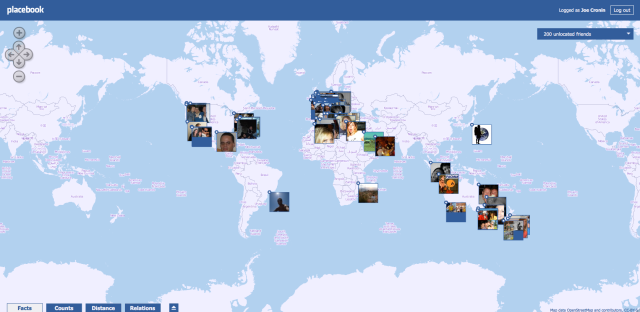 Placebook, Facebook, Maps